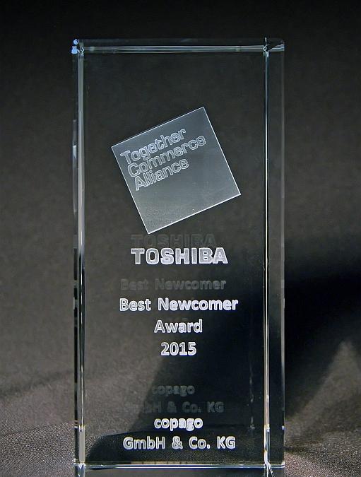 """copago erhält renommierten Award in der Kategorie """"Best Newcomer 2015"""" von TOSHIBA"""